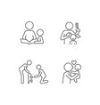 family bonding time linear icons set vector image vector image