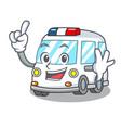 finger ambulance mascot cartoon style vector image