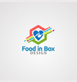 food in box logo icon element and template for vector image