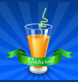glass of juice with raspberry isolated on vector image