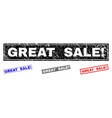 grunge great sale exclamation textured rectangle vector image vector image