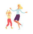 happy cartoon mother and daughter dancing isolated vector image vector image