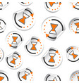 hourglass time sticker icon seamless pattern vector image vector image