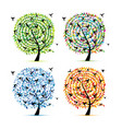 hummingbird tree four seasons for your design vector image