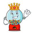 king gumball machine mascot cartoon vector image vector image