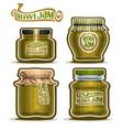 kiwi jam in glass jars vector image vector image