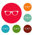man glasses icons circle set vector image vector image