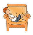 man sleeping on sofa vector image