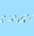mix race people using smartphones chat messenger vector image vector image