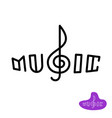 music word logo with treble clef in a center vector image