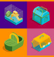pet carriers signs 3d banner set isometric view vector image vector image