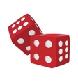 Red dice cartoon icon vector image