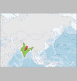 republic india location on asia map vector image vector image