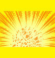 retro comic rays yellow dots background in pop vector image vector image