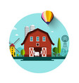 rural landscape barn and wind mills flat design vector image vector image