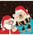 Santa Claus with polar bear vector image vector image