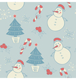 seamless pattern with snowman and christmas decora vector image vector image