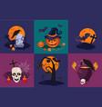 set halloween symbols raven on vector image vector image