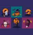 set of halloween symbols raven on vector image
