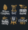 set of hand written christmas phrases hand vector image vector image