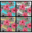 set tropical floral seamless patterns vector image vector image