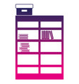 silhouette bookcase with books inside and box vector image vector image