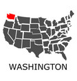 state of washington on map of usa vector image vector image