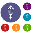 street lamp icons set vector image vector image