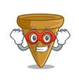 super hero cartoon ice cream wafer cone vector image