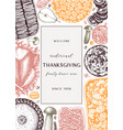 thanksgiving day dinner menu design in color vector image