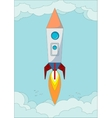 The rocket flight in the blue clear sky vector image vector image