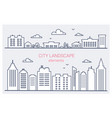 thin line city buildings set downtown landscape vector image vector image
