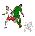 two soccer players playing in game vector image vector image