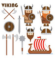 viking set emblem horned helmet shield sword ship vector image
