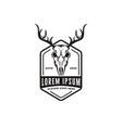 vintage head deer antler skull logo icon vector image