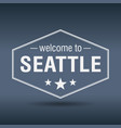 welcome to seattle hexagonal white vintage label vector image vector image