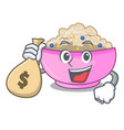 with money bag character a bowl of oatmeal vector image vector image