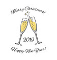 wo sparkling glasses of champagne 2019 merry vector image