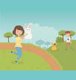 woman with rabbit and boy with dog outdoor pet vector image
