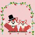 a fox marry in a cartoon style vector image vector image