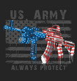america usa flag with machine gun editable vector image vector image