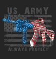 America usa flag with machine gun editable