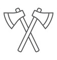 axes thin line icon weapon hatchet crossed axes vector image