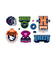 badges set ice hockey team vector image