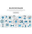 blockchain network linear style infographics vector image vector image