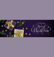 christmas and new year purple banner of gold gifts vector image