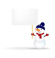 Christmas Snowman With Announcement vector image vector image