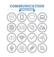 Communication linear icons set Thin outline signs vector image