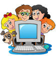 computer with cartoon kids and dog vector image