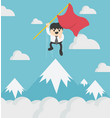 concept of success businessman holding a red flag vector image